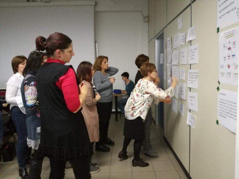 Un gruppo di persone che scrive su dei fogli appesi al muro.